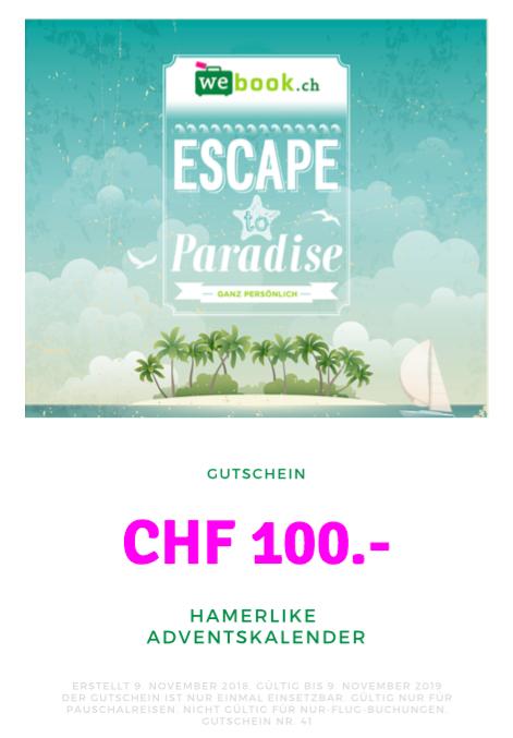 Zu gewinnen: Gutschein im Wert von CHF 100.- vom Reisebüro Webook.ch
