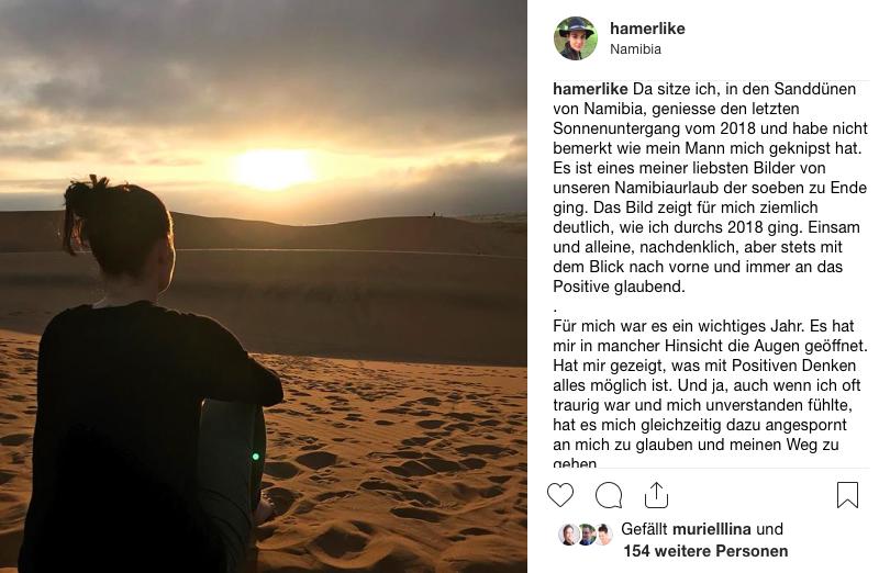 Am 31.12.2018 in den Sanddünen bei Swakobmund in Namibia - letzter Sonnenuntergang 2018