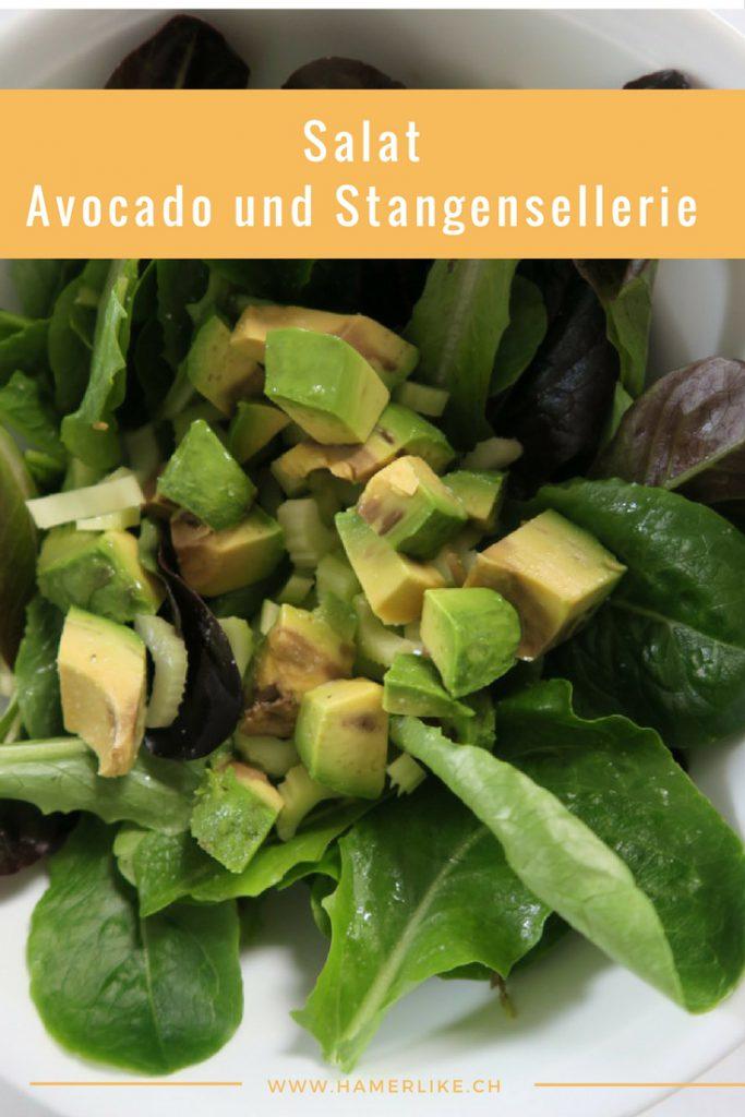 Salat mit Avocado und Stangensellerie