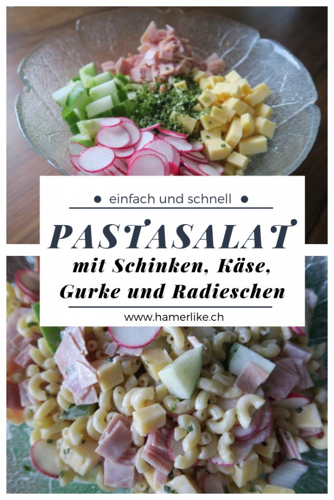 Pastasalat-Rezept mit Schinken, Käse, Gurke und Radieschen